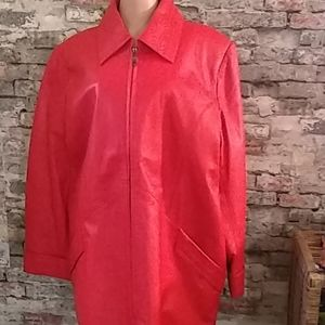 VTG Real Leather Red Trench Coat